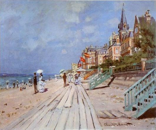 Claude Monet's 1870 painting, The beach at Trouville.